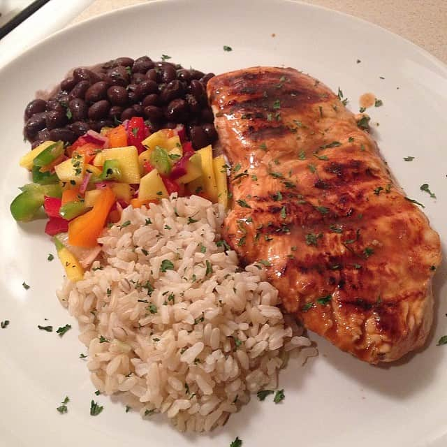 Cajun Grilled Chicken with homemade salsa, black beans, and brown rice