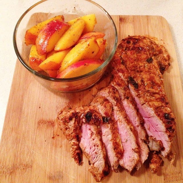 Rosemary-Mustard Pork with Sweet Peaches