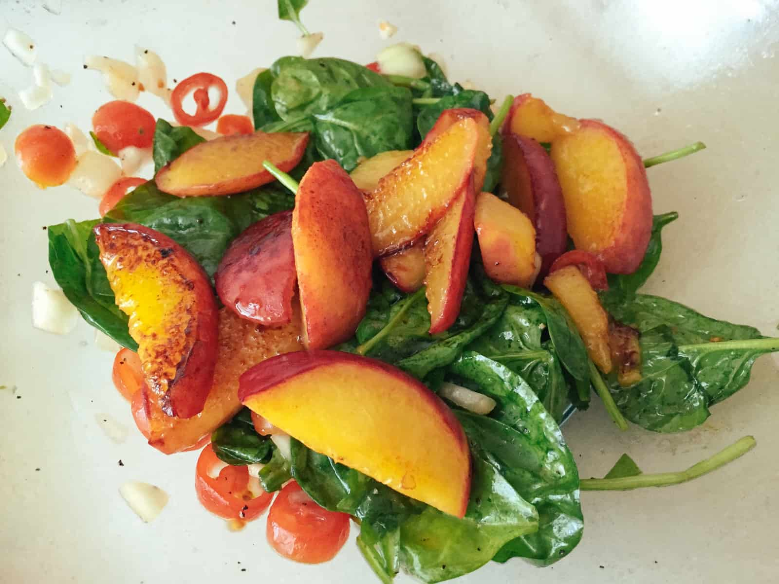 Spinach Salad With Pan Fried Peaches