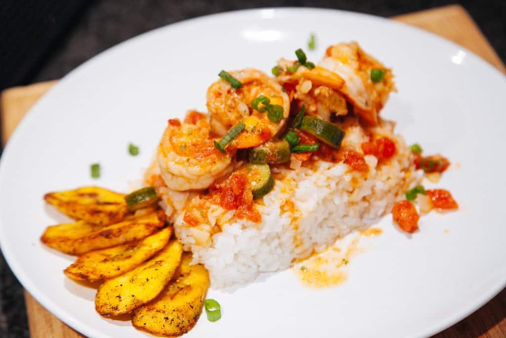 Coconut Shrimp with Island Okra Stew