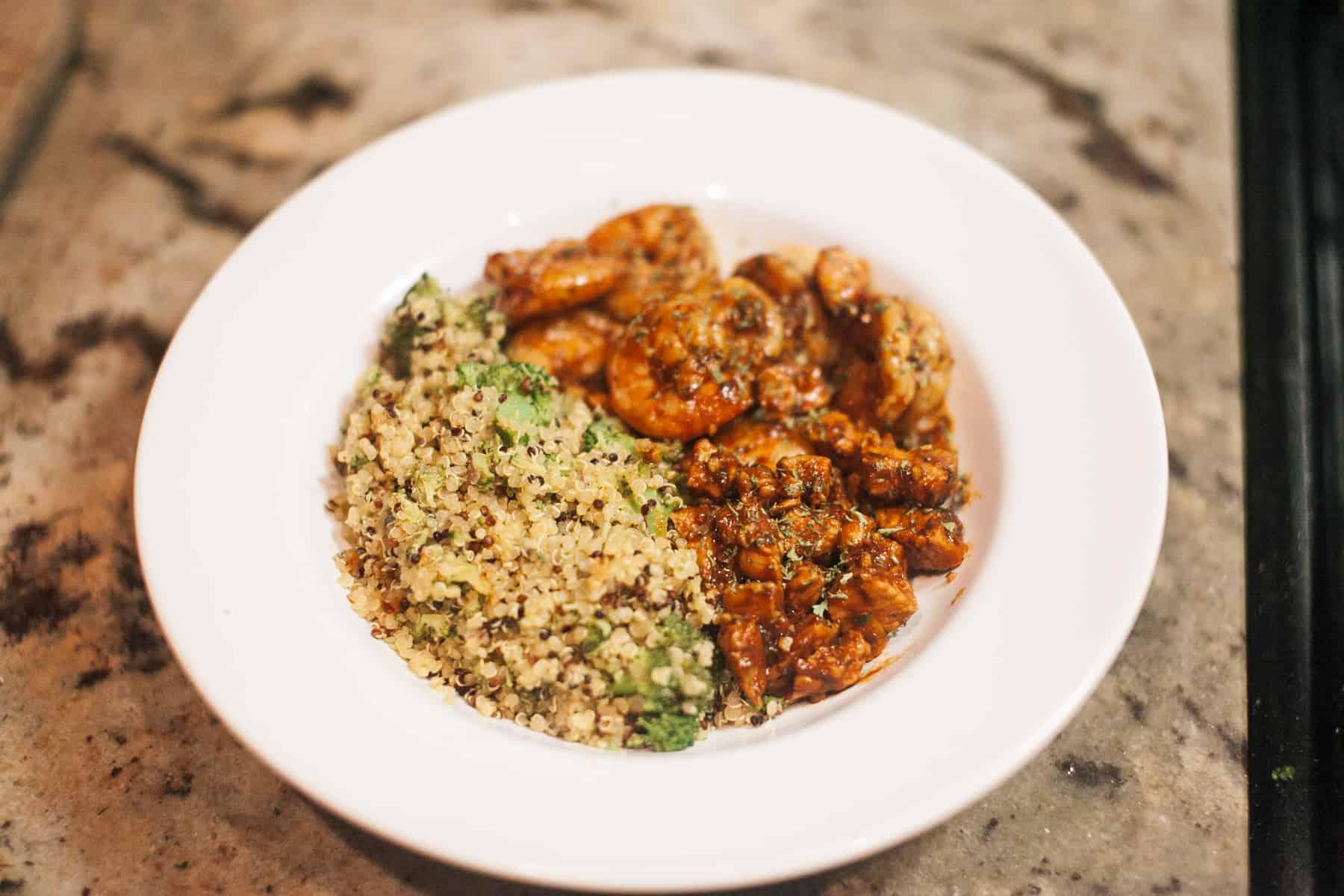Zesty Quinoa Chicken and Shrimp Bowl