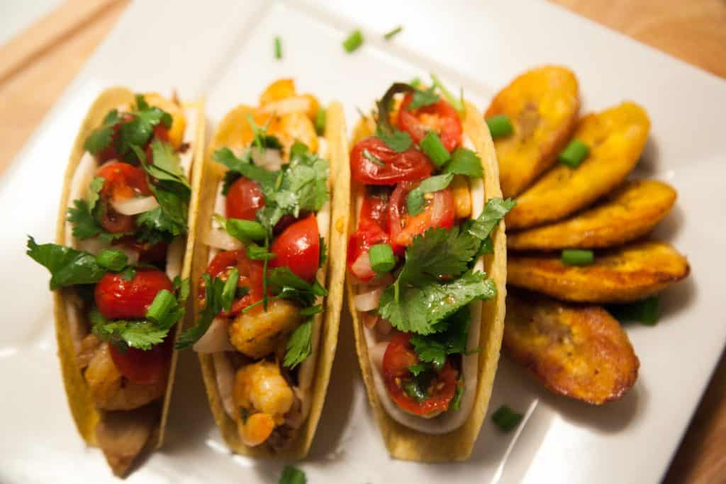 Jerk Chicken and Shrimp Crunchy Soft Tacos with Plantains