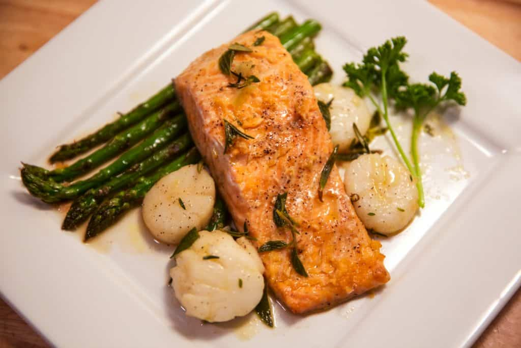 Trout & Scallop with Garlic Butter Sauce