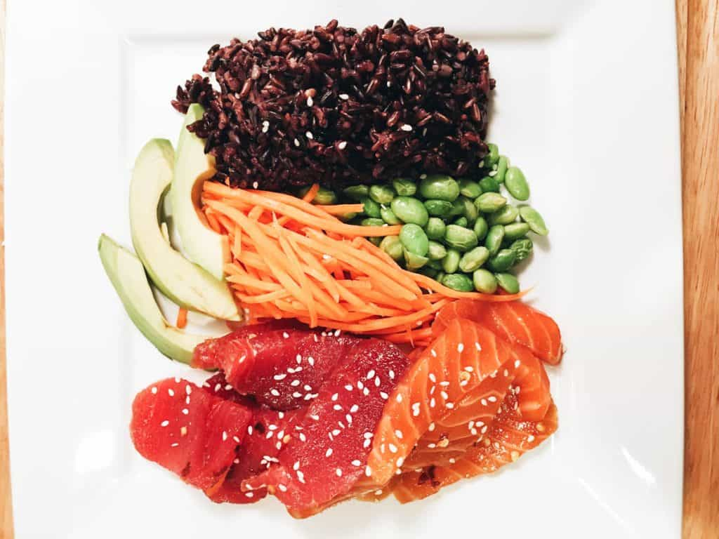 Teriyaki Salmon and Tuna Bowl